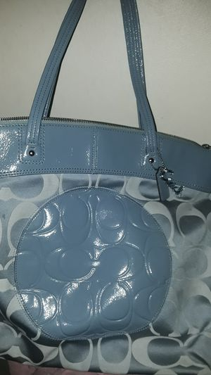 Coach signature tote purse Big C's baby blue charms for Sale in Lakewood, CA