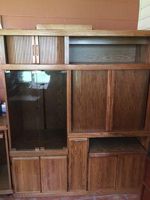 Oak Storage Cabinet Glass Doors & Shelves 55 x 65 for Sale in Ocala, FL