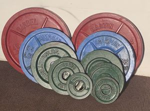 235 pounds of Olympic weights and 7Ft barbell for Sale in Tampa, FL