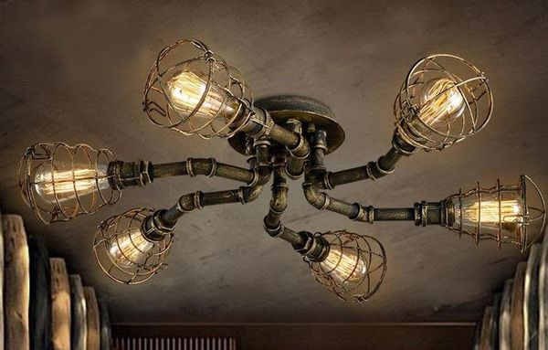Industrial pipe hand made chandeliers