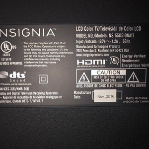 55 inch insignia TV for Sale in Manassas, VA
