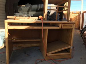 Large wooden desk, top shelves, matching chair for Sale in Syracuse, UT