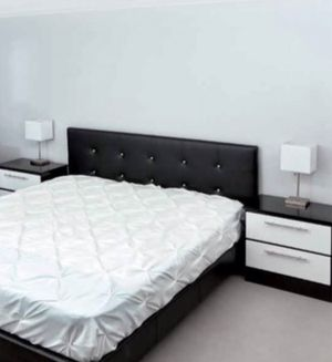 New queen bed frame and nightstands mattress is not included for Sale in Coconut Creek, FL