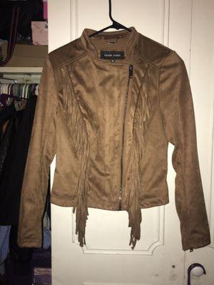 Tan Suede Black Rivet Fringe Jacket for Sale in Warrensville Heights, OH
