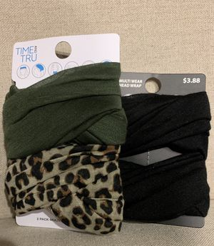 """New-MULTIWEAR Head Wraps/Colors -Army Green/Camo Cheetah & Solid Black """"Can Be Used As a Mask/Neck Gaiter UNISEX for Sale in Calimesa, CA"""