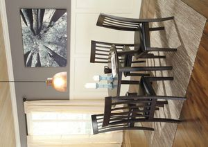 Hammis Dark Brown Round Drop Leaf Dining Set | 5-PIECE (TABLE+4 CHAIRS) for Sale in Houston, TX