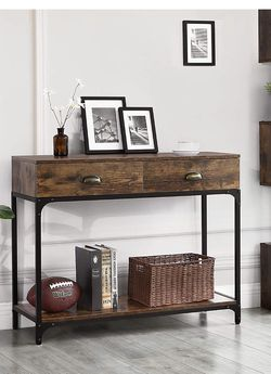 Industrial Console Table, Entryway Sofa Table with 2 Drawers and Shelf, Accent Storage with Sturdy Metal Frame, for Living Room, Rustic Brown ULNT39X for Sale in Rancho Cucamonga,  CA