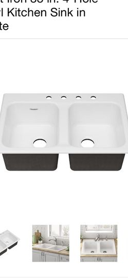 American Standard Quince Drop-in Cast Iron 33 in. 4-Hole Double Bowl Kitchen Sink in Brilliant White for Sale in Los Angeles,  CA