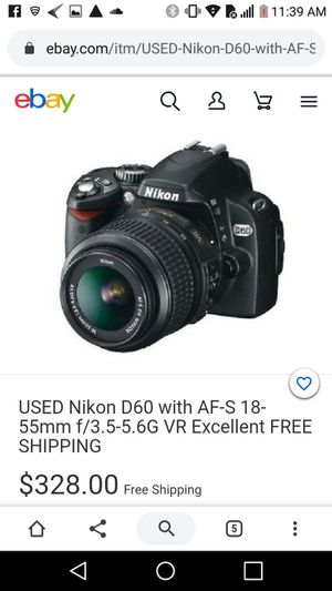 Nikon D60 DSLR Camera with 18-55mm f/3.5-5.6G Auto Focus-S Nikkor Zoom Lens for Sale in Bakersfield, CA