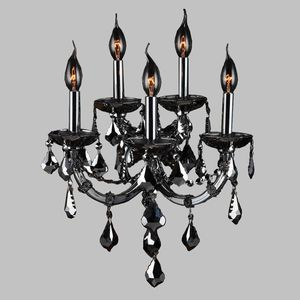 """Worldwide Lighting Lyre Collection 5 Light Chrome Finish and Smoke Crystal Wall Sconce 15"""" W x 20"""" H Large 2 Tier for Sale in San Diego, CA"""