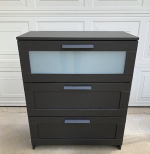 3-Drawers Brimnes Frosted Glass Black Dresser for Sale in Monterey Park, CA