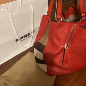 BURBERRY Red Chevron Leather and Canvas Susanna Medium Hobo Bag for Sale in Duluth, GA