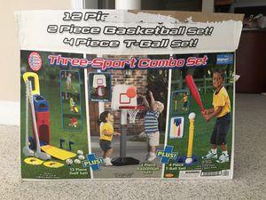 Three sports combo set, basketball, baseball, T ball for Sale in Alpharetta, GA