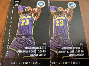2 tickets Lakers vs. Rockets Section 115, Row 9 for Sale in Los Angeles, CA