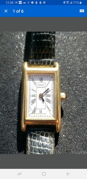 TIFFANY & CO. PORTFOLIO gold electroplate Ladies Watch T&Co. Black Leather Band for Sale in Milford, CT