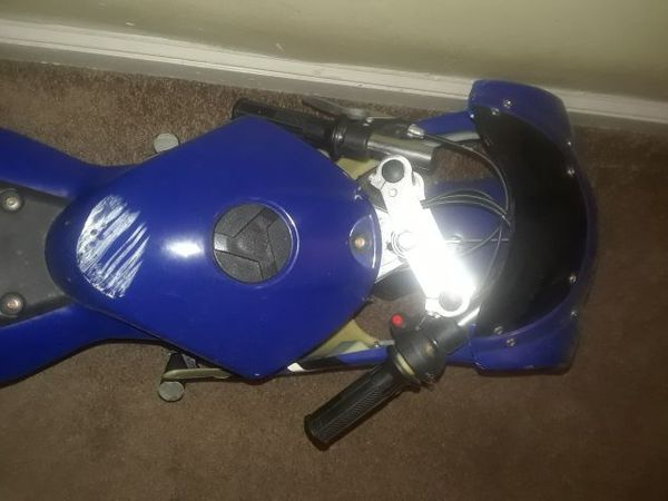 Mini blue motorcycle
