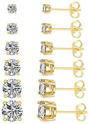 Stud Earrings Simulated Diamond 18K Gold Plated Royal Round Cubic Zirconia Ear Stud Set (6 Pairs) for Sale in Chicago, IL