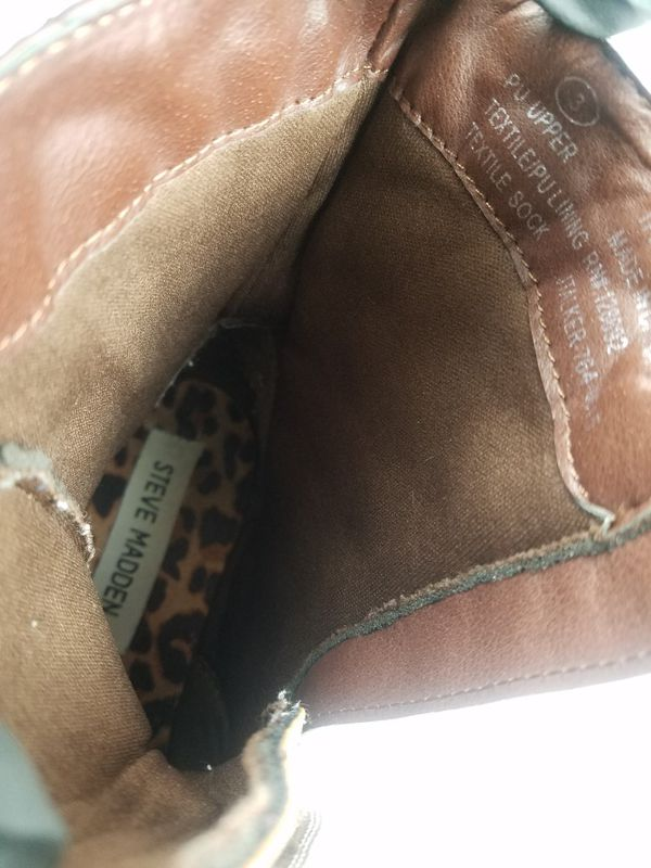 Steve Madden Youth Girls Childrens Kids Quilted Brown Combat Boots Size 3