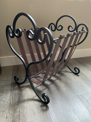 Beautiful Iron Magazine Rack with Leather Straps for Sale in Kent, WA