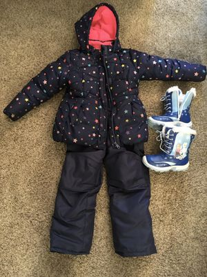 Girls winter Jacket, bib (size 5/6) and 'Frozen' Boots (Size 12) for Sale in Woodbridge Township, NJ