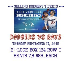 Dodgers vs Rays Tuesday's September 17,2019 Bobblehead Night for Sale in Long Beach, CA