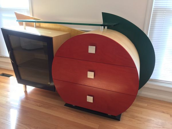 Contemporary sideboard/buffet red yellow & blue with glass shelf, cabinet, and drawers