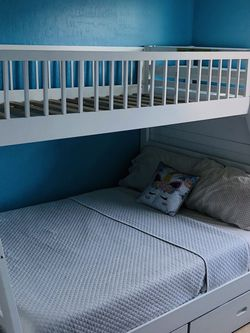 Twin over Full Bunk bed With Draws And Storage Space for Sale in Las Vegas,  NV