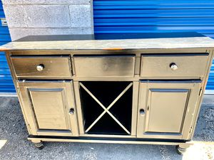 TV stand, buffet, black and reddish, nice condition. 3 pull drawers, two swing doors, center X shelves pull out for Sale in Henderson, NV