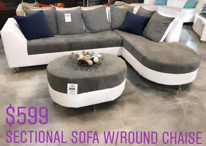 Sectional Sofa with Round Chaise - Also Available in Other Colors for Sale in Miami, FL