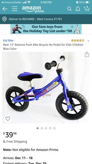 New Learn How to Ride BALANCE BIKE for Kids for Sale in San Dimas, CA