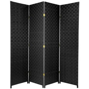 Oriental Furniture 6 ft. Tall Woven Fiber Outdoor All Weather Room Divider - 4 Panel - Black for Sale in Chicago Ridge, IL