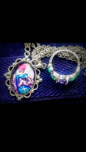 925 MeRmaid GLaSs NeCkLaCe & RiNg SeT for Sale in Bountiful, UT
