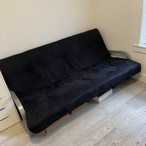 Futon Frame and Upgraded Mattress (Black) for Sale in Portland, OR