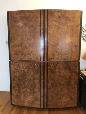 Burl solid wood TV book Shelves 8 drawers Armoire Entertainment center Wardrobe Cabinet retail over $3500+ for Sale in Wilmette, IL