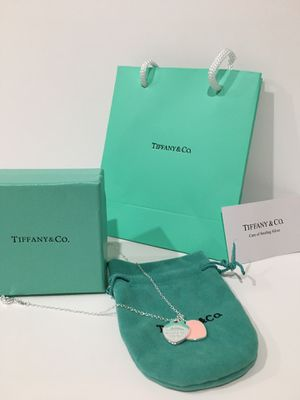 Tiffany & Co Pink Enamel Heart Pendant Necklace Sterling Silver for Sale in Santa Fe Springs, CA