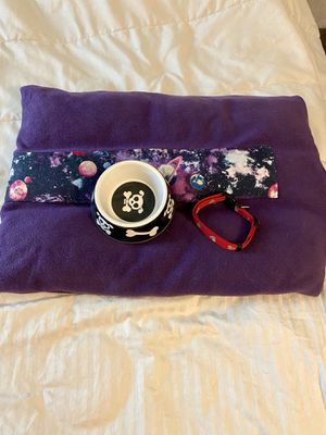 Dog collar , dog bowl and dog bed Pet accessories for Sale in Las Vegas, NV