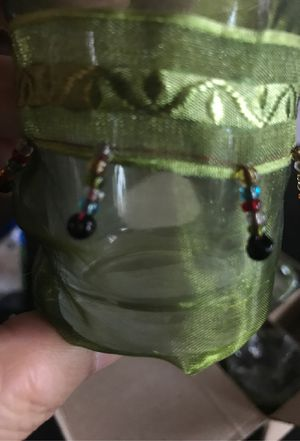 6 New Candle Holders covered with Beautiful green needs & green material for Sale in La Puente, CA
