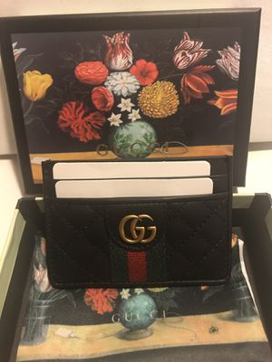 Gucci black leather green stripe card holder wallet for Sale in Queens, NY