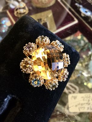 Stamped 14k gold ring with gemstones nice looking 15g for Sale in Clovis, CA
