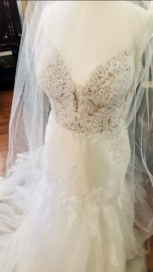 Wedding dress size 14 for a petite bride for Sale in Huntington Beach, CA