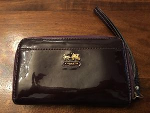 Coach small zip deep purple glossy wallet for Sale in Chicago, IL