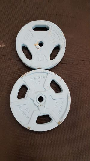 10 lb and 25 lb standarf size barbell weight plates for Sale in Santa Clarita, CA