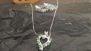 Sterling silver diamond and emerald heart necklace and earring set, great holiday gift for Sale in Orlando, FL