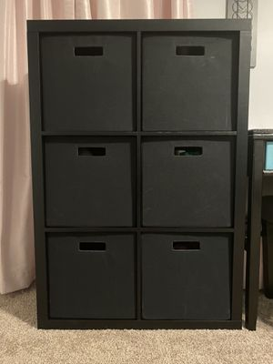 Two Black 6 Cube Storage Cubbies With Storage Bins for Sale in Raleigh, NC