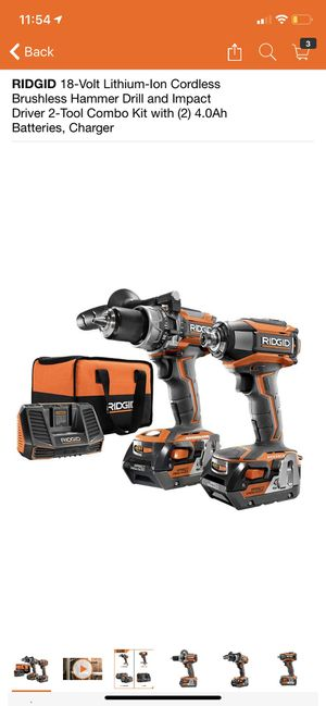 RIDGID 18-Volt Lithium-Ion Cordless Brushless Hammer Drill and Impact Driver 2-Tool Combo Kit with (2) 4.0Ah Batteries, Charger for Sale in Pomona, CA