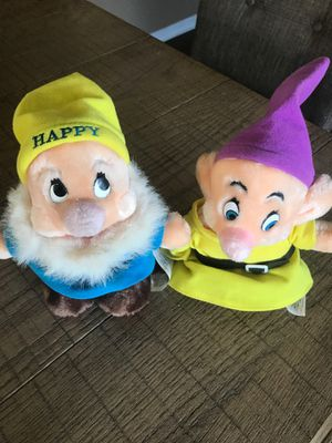 Disney store Happy And Dopey Dwarf plush Mid 90's for Sale in Plant City, FL