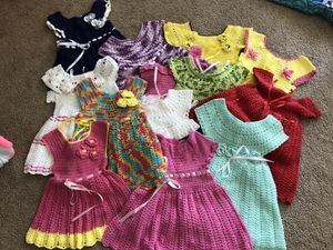 Hand made crochet dresses for baby girls for Sale in Fairfax, VA