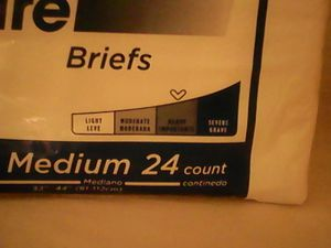 Incontinence briefs Size Medium 24 per package for Sale in San Angelo, TX