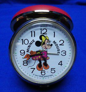 Vintage Walt Disney Bradley 1960s Minnie Mouse Clam Shell Travel Alarm Clock for Sale in Ceres, CA