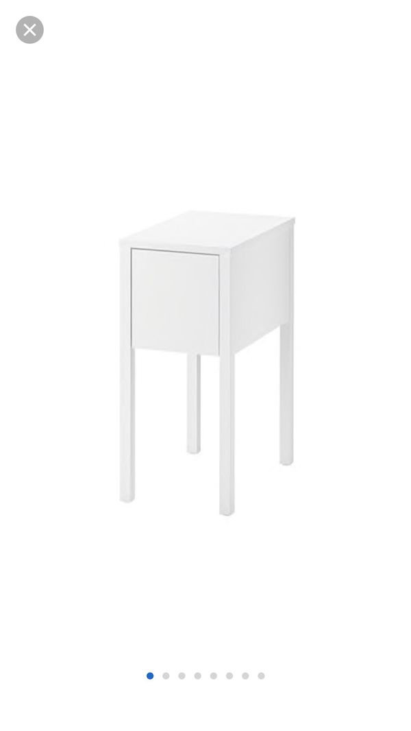 White IKEA nightstand with pull out drawer and shelf